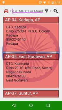 India RTO Series Address Info poster