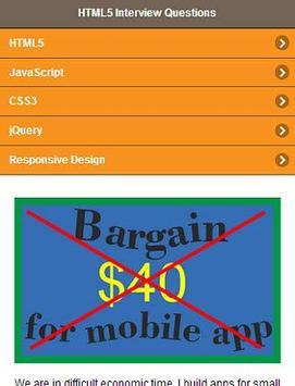 HTML5 Interview Questions apk screenshot