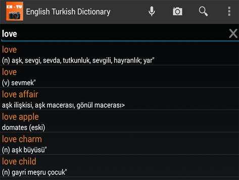 English Turkish Camera Dict apk screenshot