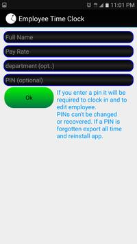 Employee Time Clock Free apk screenshot