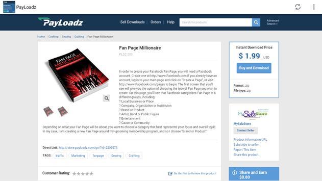 Payloadz Free Downloads apk screenshot