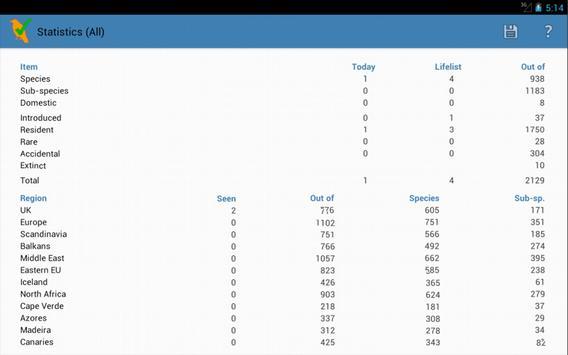 UK/WP Birding Checklist (demo) apk screenshot