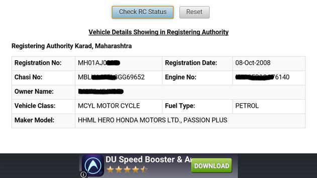 Vehicle Registration info.IND. apk screenshot