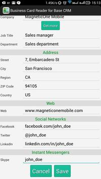 Business Card Reader Base CRM apk screenshot