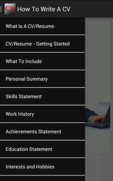 How To Write A CV poster