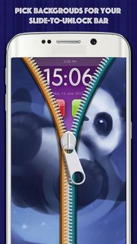 Zipper Lock Screen Cute Panda apk screenshot