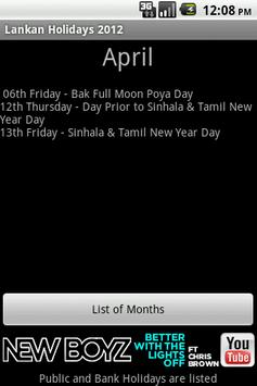 Lankan Holidays 2012 apk screenshot