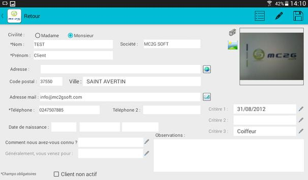 MC2G CRM - Gestion Clients apk screenshot