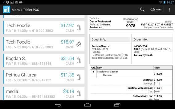 Menu1 Tablet POS apk screenshot