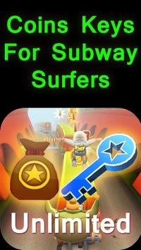 Coins Keys For Subway Surfers poster