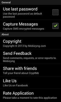 CryptMe (encrypt & send sms) apk screenshot