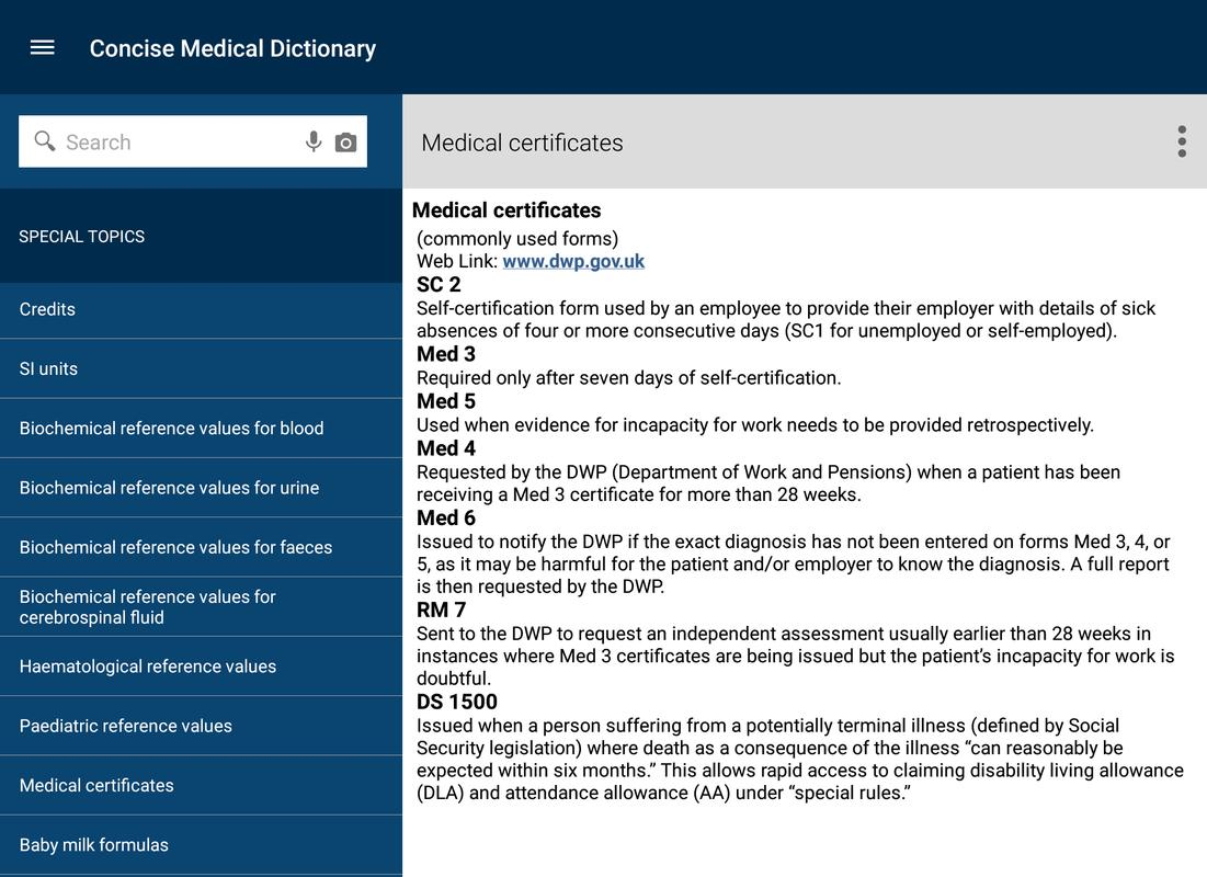 oxford concise medical dictionary apk