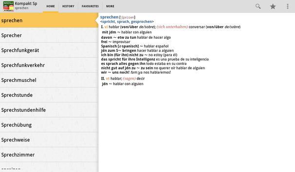 Dictionary Spanish<>German TR apk screenshot