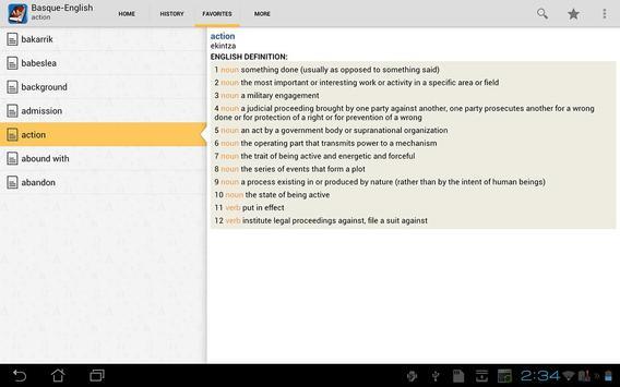 Basque<>English Dictionary apk screenshot