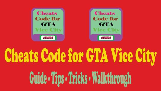 Cheats Code for GTA Vice City poster