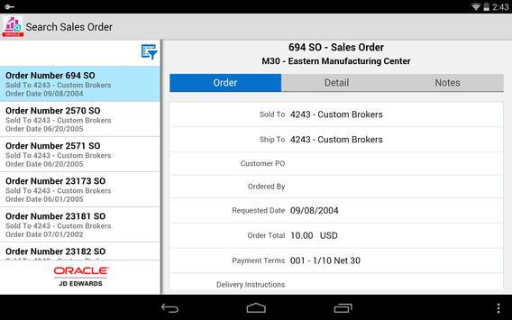 Search Sales Order - JDE E1 apk screenshot