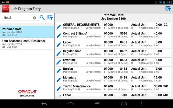 Job Progress Entry - JDE E1 apk screenshot