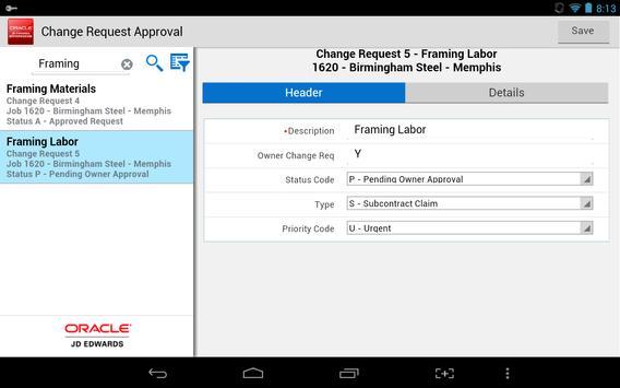 Change Req Approval - JDE E1 apk screenshot