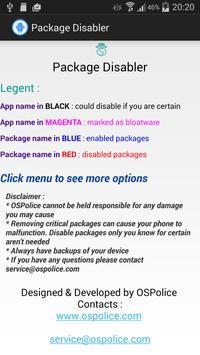 Package Disabler free Samsung apk screenshot