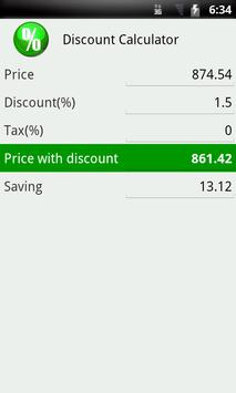 Discount calculator apk screenshot