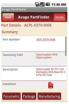 Avago PartFinder apk screenshot