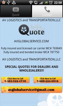 Vehicle Transport Quote apk screenshot