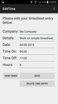 Simple Timesheet FREE apk screenshot