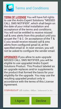 Missed Call & SMS to email apk screenshot