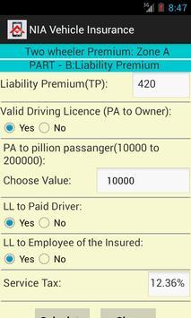 Vehicle Insurance Calculator apk screenshot