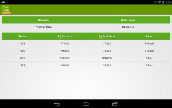 Tarif JNE Yogyakarta apk screenshot