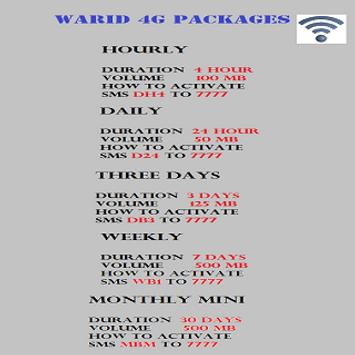 3G and SMS Packages Rates Pak apk screenshot