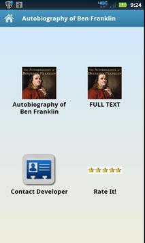Autobiography of Ben Franklin poster