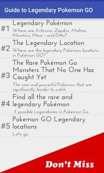 Guide to Legendary Pokemon GO apk screenshot