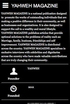 YAHWEH MAGAZINE poster