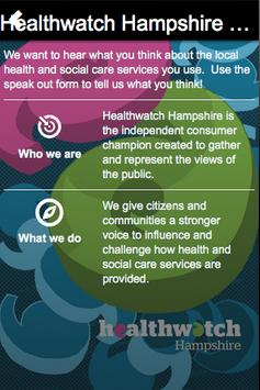 Healthwatch Hampshire Speak Up poster