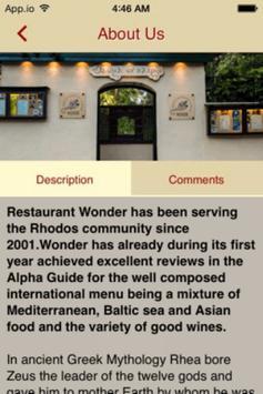 Wonder Restaurant apk screenshot