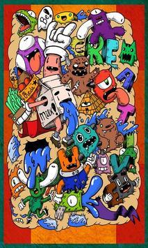 Doodle Art Kertas Dinding poster