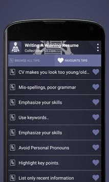 Writing a Winning Resume apk screenshot
