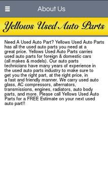 Yellows Used Auto Parts apk screenshot