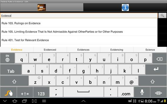 US Federal Rules of Evidence apk screenshot