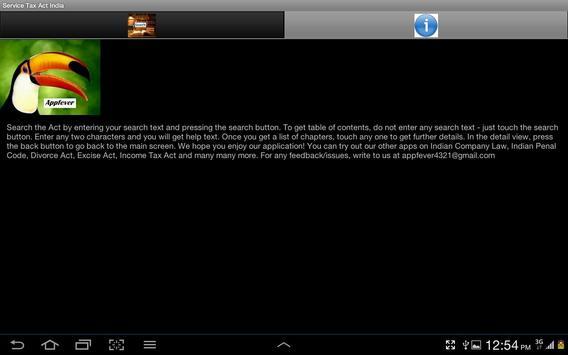 Service Tax Act India apk screenshot