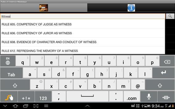 Mississippi Rules of Evidence apk screenshot