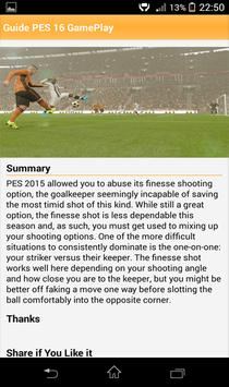 Guide PES 2016 GamePlay apk screenshot