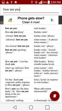 Finnish English Dictionary apk screenshot