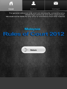 Malaysia Rules of Court 2012 poster
