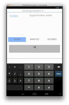 Video Storage Calculator apk screenshot