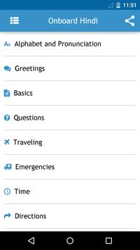 Onboard Hindi Phrasebook apk screenshot