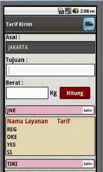 Tarif Kirim apk screenshot