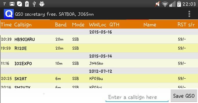QSO secretary FREE apk screenshot