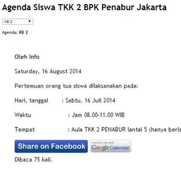 Agenda Siswa TKK 2 PENABUR Jkt poster
